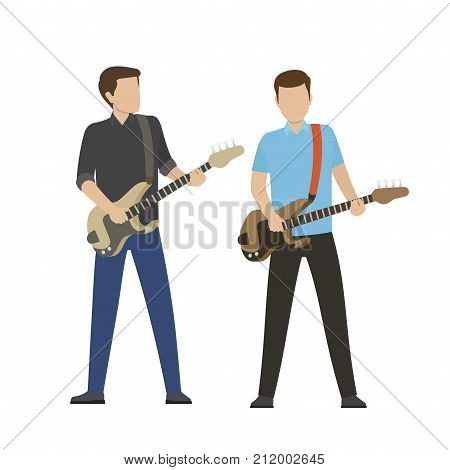 Musicians play on electric and bass guitar isolated vector illustration on white background. Music performance on modern instruments.