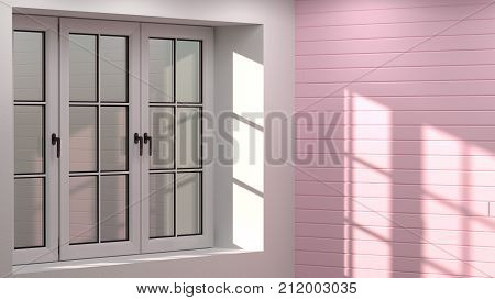 empty room 3D illustration clean white and pink wall interior background sunshine in the morning and evening in the room