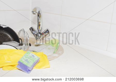 Clog in kitchen sink, obstruction of water, clog pipes poster