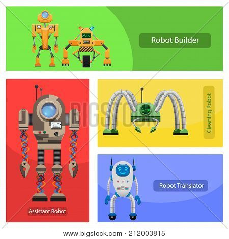 Unusual robots for building constructions, cleaning premises, translation in foreign languages and work assistance vector illustrations set.
