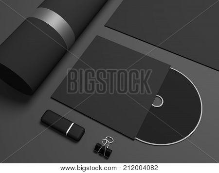 CD disk drive mockup. 3D illustration stationery close up.