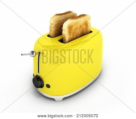 Toaster With Toasted Bread Isolated On White Background Kitchen Equipment Close Up 3D