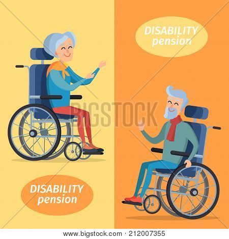 Disability pension two smiling gray-haired pensioners on wheelchairs. Vector illustration isolated on yellow and orange background.