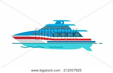 Sailboat vector illustration isolated on white. Fishing vessel, speed boat marine nautical type of transport in flat style, motorboat icon