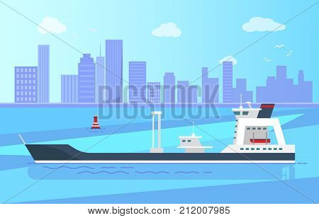 Spacious empty cargo ship on calm water surface with red buoy, high skyscrapers, blue sky and white gulls on horizon vector illustration.