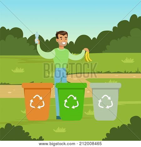 Flat man character throwing garbage into different containers in city park. Ecological lifestyle concept. Waste sorting and segregation. Green ecologically clean world. Vector background for poster