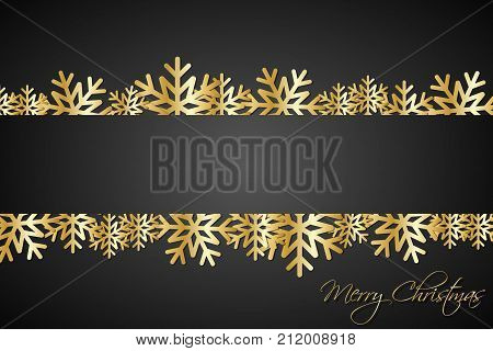 Golded christmas snowflakes background with space for your wishes simple holiday card with snowflakes