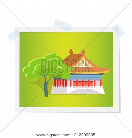 Oriental house or theatre near green tree image attached by scotch tape. Vector illustration in flat design of photograph isolated on white with traditional asian building having triangular roof