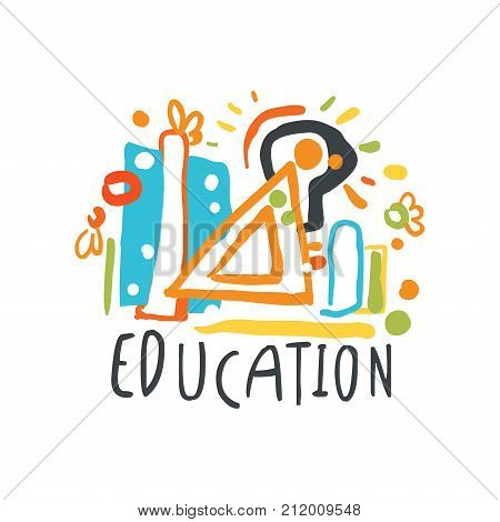 Education day label concept with educational supplies. Logo original design for educational center, learning business, school or studying class. Back to school emblem. Flat vector isolated on white.
