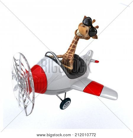 Fun giraffe- 3D Illustration