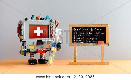 Flu season symptoms poster. Medic robot antiviral drugs tube, chalkboard with Influenza virus handwritten words: headache fever tiredness aches stuffy nose sore throat coughing vomiting