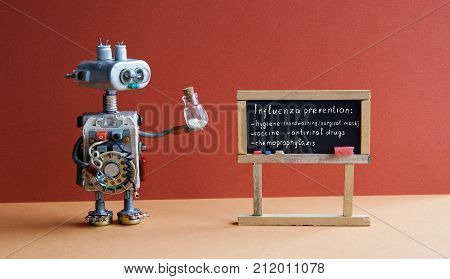 Flu prevention poster. Robot doctor holds antiviral drug container, chalkboard handwritten influenza virus topics Hygiene, hand washing, surgical mask, antiviral drugs. Yellow red interior classroom.
