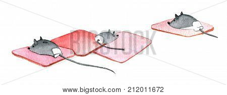3 computer mouses on a rubber mat on a white background