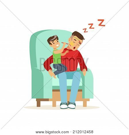 Flat vector illustration of boy paints on his dad face while he is sleeping in armchair. Tired father and his hyper active son. Fatherhood routine. Cartoon man and boy characters isolated on white.