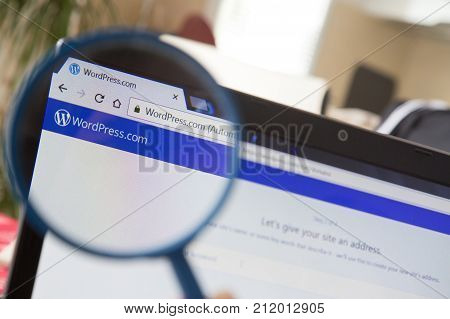 Paris, France - October 19, 2017 : Wordpress Homepage Under A Magnifying Glass. Wordpress Is A Free