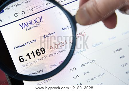 Paris, France - October 19, 2017 : Finance Yahoo Website Homepage Under A Magnifying Glass. Finance