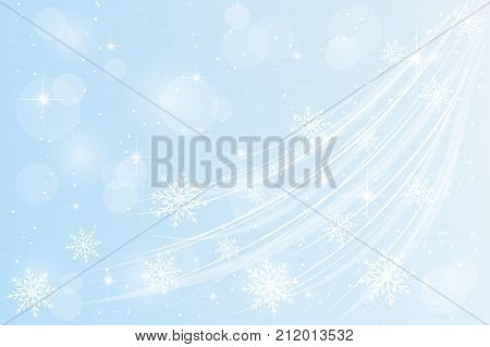 Abstract background of crystal snowflakes, bright twinkling snow, highlights and sparkles. It can be used as a template, poster, postcard, New Year, Christmas. Vector illustration.