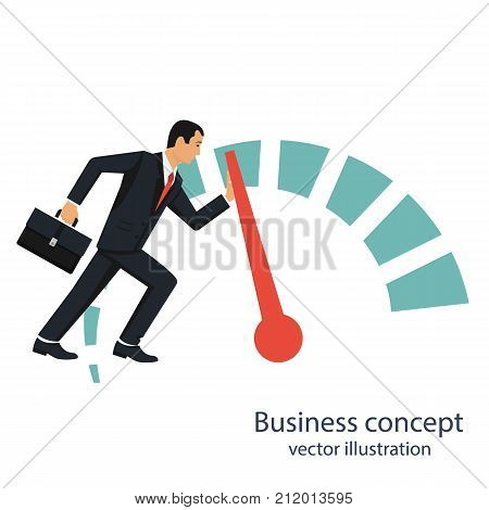 Businessman pushing speedometer scale increase in profit. Rise of opportunity. More power. Business aspirations. Vector illustration flat design. Isolated on background.