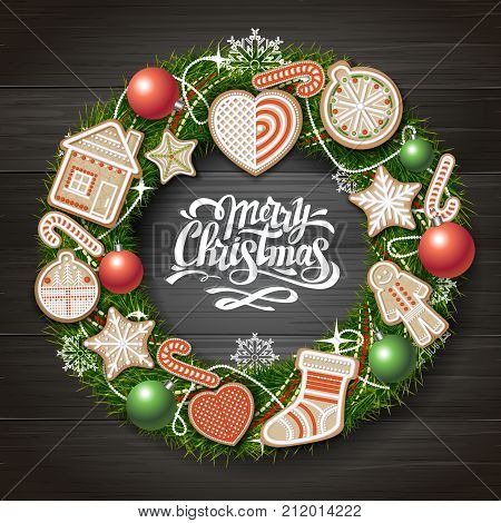 Top View Of Merry Christmas Concept Design. Christmas Wreath With Cookies On Wooden Background. Chri