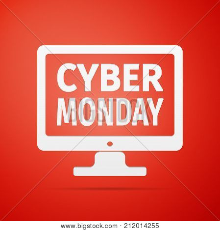 Monitor with Cyber Monday on screen flat icon over red background. Vector Illustration