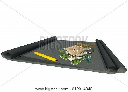 Architectural design creative work concept 3D illustration. Architectural drawings, architectural 3d model, building, house, planning. Collection.