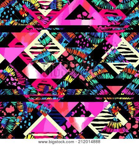 Boho Textile Seamless Pattern.