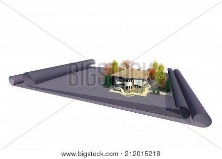 Architectural design creative work concept 3D illustration. Architectural drawings, architectural 3d model, 2 story house, residential bulding, planning, creation. Collection.