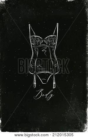 Underwear fashion body in vintage style drawing with chalk on chalkboard