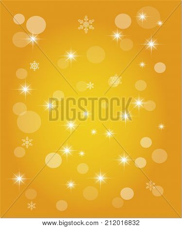 Christmas abstract background of crystal snowflakes bright twinkling stars highlights and sparkles. Vector illustration.