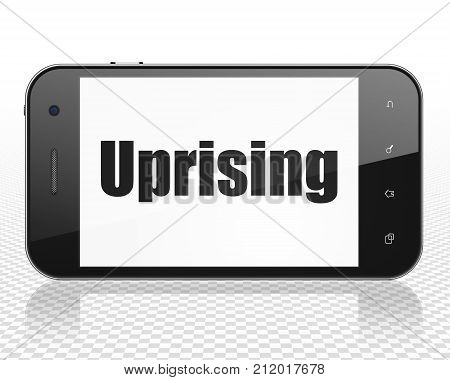 Politics concept: Smartphone with black text Uprising on display, 3D rendering