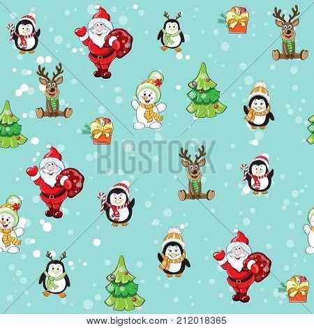 Christmas seamless pattern with Santa penguins deer Rudolf and the Christmas tree