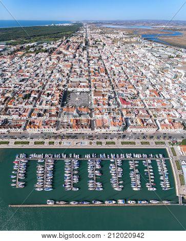 Aerial. Video shooting from the village sky Vila Real Santo Antonio. Portugal