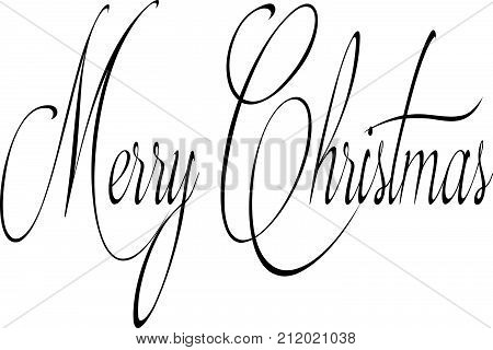 Merry Christmas Text Sign Illustration Writen In English