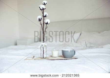 Autumn Cozy Breakfast In Bed. Romantic Breakfast. Cotton, A Cup Of Hot Coffee, A Candle. Autumn Cosi