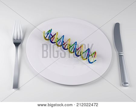 tableware with a DNA , 3d illustration
