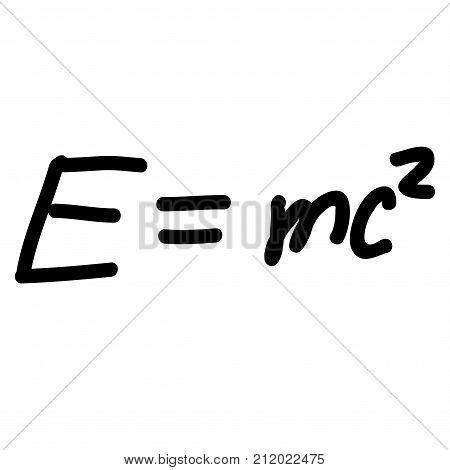 Einstein Energy Formula scribble sketch. Vintage handwritten vector illustration of Einstein Energy Formula.