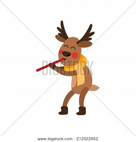 Cute, funny Christmas reindeer character in scarf and boots playing flute, cartoon vector illustration isolated on white background. Cartoon reindeer playing flute, Christmas decoration