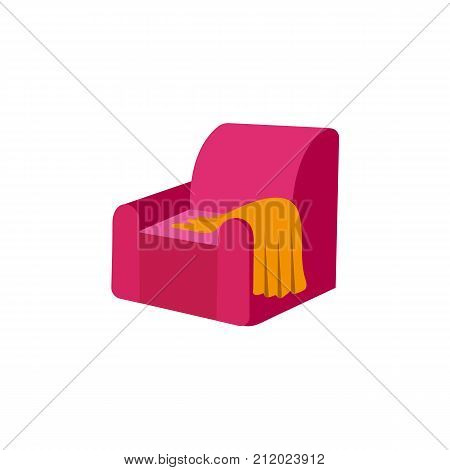 vector flat pink comfortable armchair with warm orange woolen blanket or rug. Isolated illustration on a white background. Cozy domestic interior design element