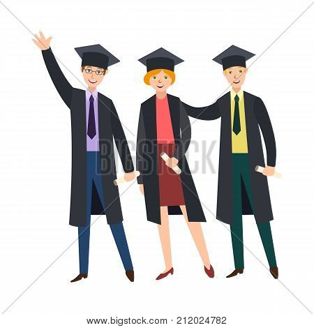 Three happy college graduates, students in graduation cap and gown, holding diplomas, cartoon vector illustration isolated on white background. Graduates, classmates, friends in graduation caps, gowns