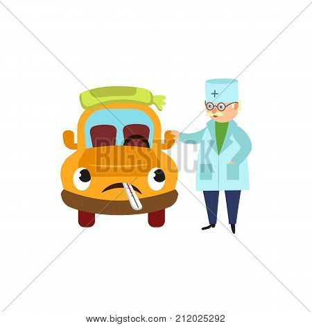 Funny old doctor and sad car character having flu, standing with cold pack and thermometer, cartoon vector illustration isolated on white background. Cartoon doctor and car character having flu, fever