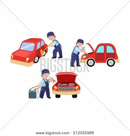Auto mechanic cleaning, fixing and jump starting a car in repair and maintenance workshop, cartoon vector illustration isolated on white background. Auto mechanic repairing, washing, starting a car