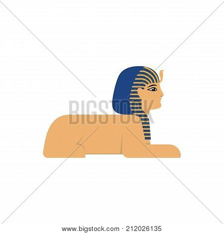 vector flat sphinx - ancient egypt mythical creature with head human woman and lion body icon. Isolated illustration on a white background.
