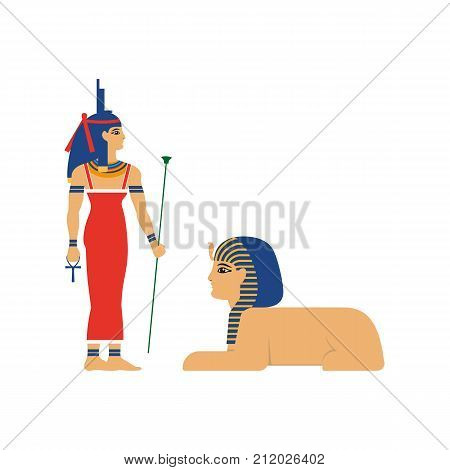 vector flat Isis goddes - ancient egypt god with throne on her hand and sphinx with head of woman and lion body. Mother of all egypt pharaohs. isolated illustration on a white background.