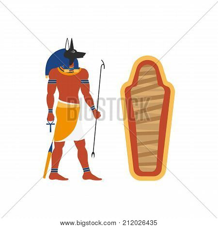vector flat Anubis - ancient god of egypt with head of jackal or dog and human body and empty sarcophagus icon. Conductor of the dead into the afterlife. Isolated illustration on a white background. poster