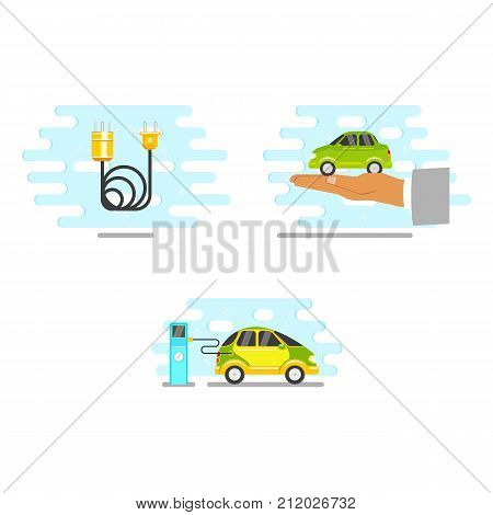 vector flat renewable, alternative energy icon set. electric car charging at charging station, power wire with plug, car in palm of hand. Isolated illustration on a white blue abstract background.
