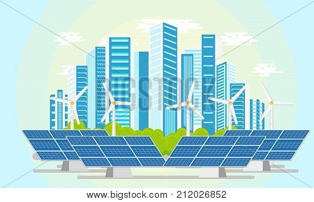vector flat modern ecological city icon concept with blue high business skyscrapers on background of green park, windmills and solar panels. Isolated illustration on a white background