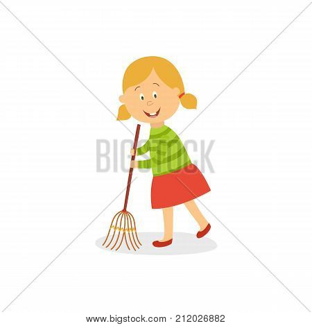 Little girl sweeping floor with big broom, helping with everyday routines, housekeeping, chore, cartoon vector illustration isolated on white background. Little girl with broomstick sweeping floor poster
