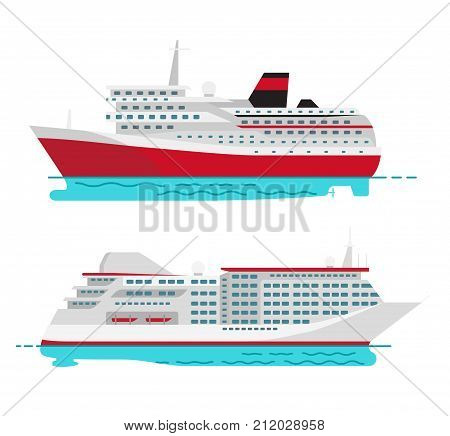 Spacious luxury cruise liner and big red steamer on water surface isolated on white background. Seagoing ships vector illustrations.