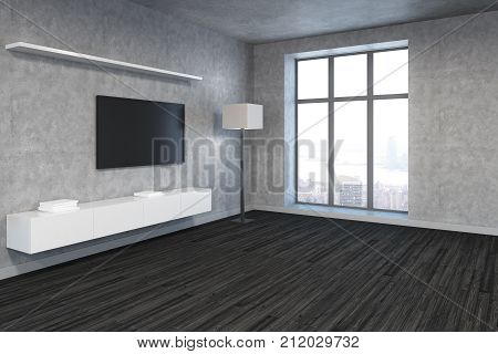 Bright Living Room With Blank Tv Side