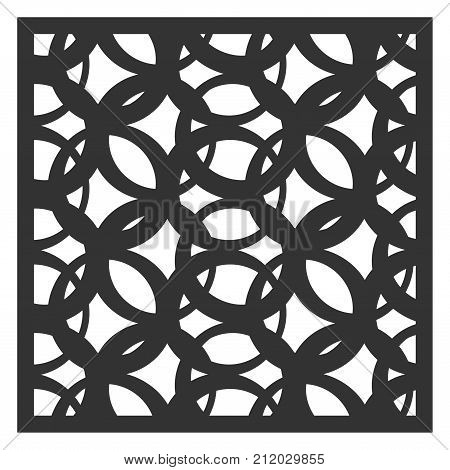 Cards to cut. Vector panels for laser cutting. The ratio 1:1. Cut silhouette with geometric patterns. Used for openwork partitions, panels, printing, laser cutting, stencil.